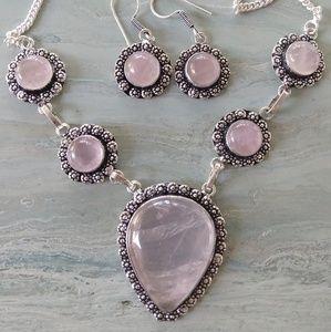 Pink quartz stamped 925 necklace set
